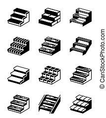 metal, kamień, drewno, schody