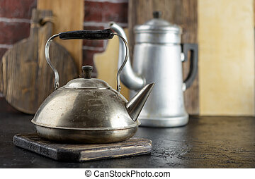 Metal kettle and coffee pot - Old metal kettle and coffee...