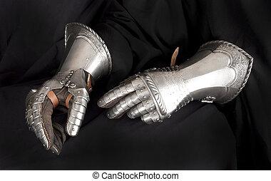 metal, knight's, rękawiczka