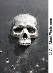 metal, kranium, dør