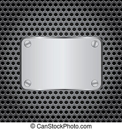 metal label grid background