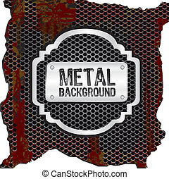 metal label on background of grid pattern, vector illustration