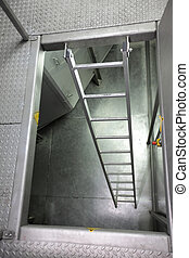 metal ladder in industrial space