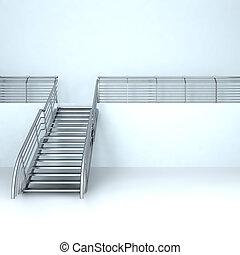 Metal ladder on the second floor in empty room