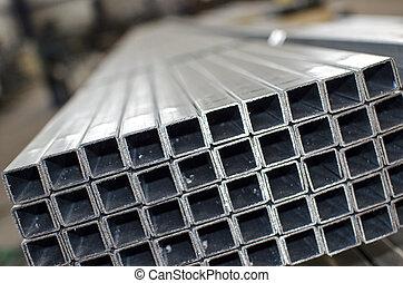 metal laminado, arriba, perfiles, cierre