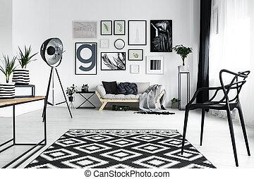 Metal lamp in the room