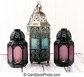 Metal Lanterns - Three glass and metal lanterns