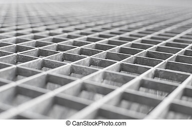 Angle metal lattice background with shallow DOF and selective focus point on small cells of grid
