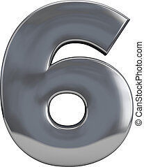 Metal number 6 (six) character isolated on white. Including clipping path. Part of complete alphabet set.