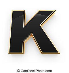 Golden whith black letter K isolated on white background