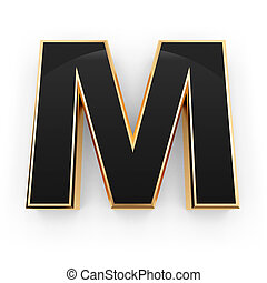 Metal letter M - Golden whith black letter M isolated on...