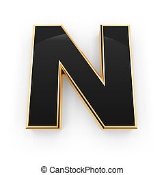 Metal letter N - Golden whith black letter N isolated on...