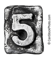 Metal letter - Metal alloy alphabet number 5