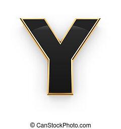 Metal letter Y