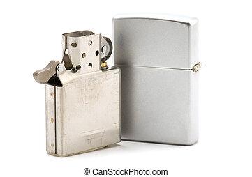 Metal lighter - object on white: tools - metal lighter