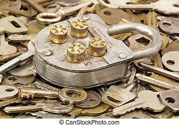 Metal lock and keys. - Metal old lock on a lot keys...