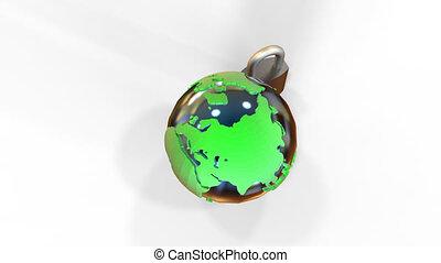 Metal lock near the earth on a white background. - Globe...