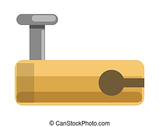 Metal lock with yellow corpus and hole for latch - Metal...