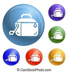 Metal lunch box icons set