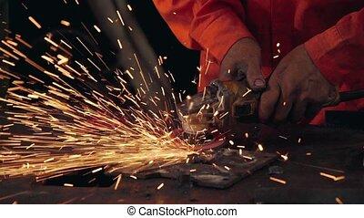metal., mécanicien, acier, découpage, professionnel