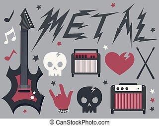 metal, música, projete elementos, ilustração