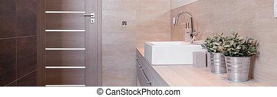 metal, maceta, en, moderno, cuarto de baño