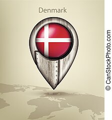 map marker steel with glare and shadows denmark