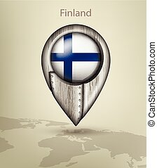 map marker steel with glare and shadows finland