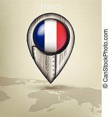 map marker steel with glare and shadows france