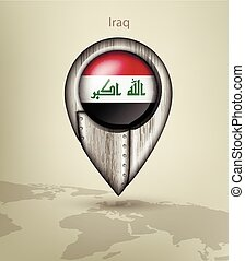 map marker steel with glare and shadows iraq