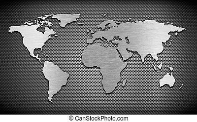 metal, mapa del mundo, en, reja, peine, plano de fondo