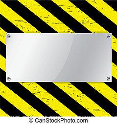 metal, marco, en, advertencia, raya, plano de fondo