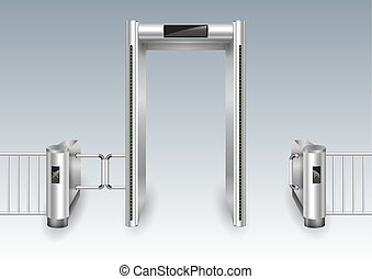 metal, marco, portal, detector