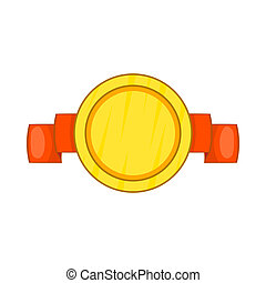 Metal medal with ribbon icon, cartoon style