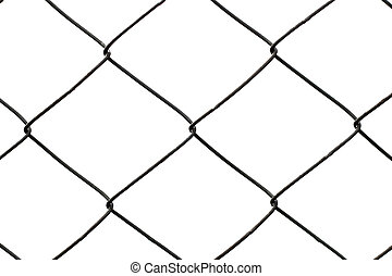 Metal mesh fence isolated on white background