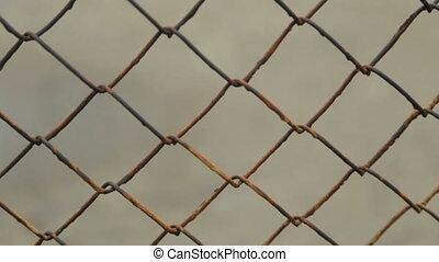 Metal mesh. Fencing.Full hd video - Metal fence of rods....