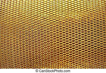 metal mesh grate gold background