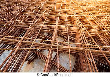 metal mesh with rusty iron bar