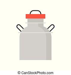 Metal milk tank flat icon, farm equipment vector