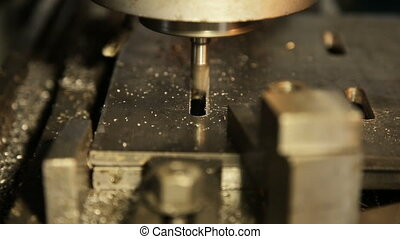 metal milling machine - Turning lathe in action.Facing...