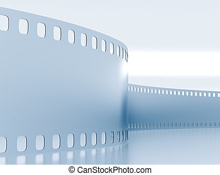Metal model of a film on a blue background