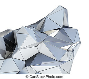 Metal modern building on white background
