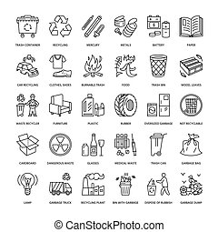 metal., moderno, plástico, -, basura, desperdicio, icono, recycling., vector, pictogram, línea, papel, clasificación, dirección, editable, collection., reciclable, lineal, folleto, golpe, vidrio