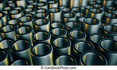 Metal moving pipes. Abstract 4k background