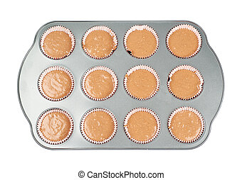 Metal muffin pan isolated