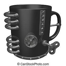 mug - metal mug on white background - 3d illustration