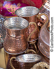 Metal mugs made in the old Ottoman style