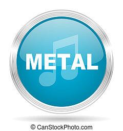 metal music blue glossy metallic circle modern web icon on white background