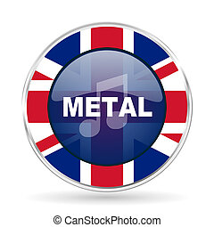 metal music british design icon - round silver metallic border button with Great Britain flag