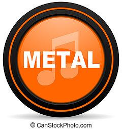 metal music orange glossy web icon on white background